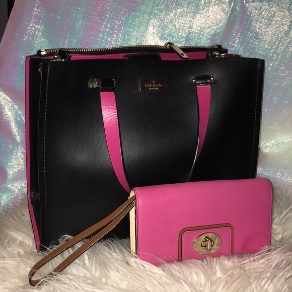 Kate Spade Arbour Hill Kyra Crossbody **FREE KATE SPADE WALLET!** Black and Pink